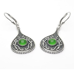 Viking Teardrop Earrings with Green Glass Stone