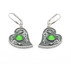 Viking Heart Earrings with Green Glass Stone