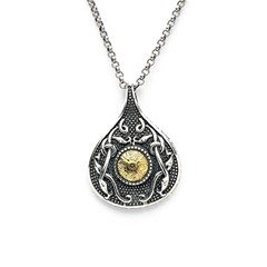 Viking Teardrop Pendant with 18k Gold Bead