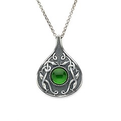 Viking Teardrop Pendant with Green Glass Stone
