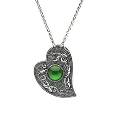 Viking Heart Pendant with Green Glass Stone