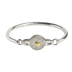 Small Celtic Warrior Wire Bangle with 18k Gold Bead