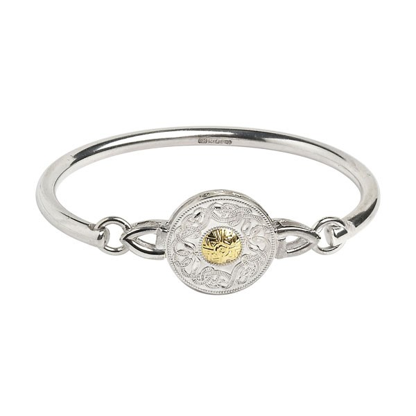 Large Celtic Warrior Wire Bangle with 18k Gold Bead