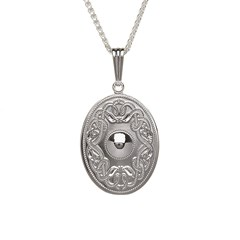Celtic Warrior Oval Silver Pendant