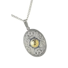 Celtic Warrior Oval Pendant with 18k Gold Bead
