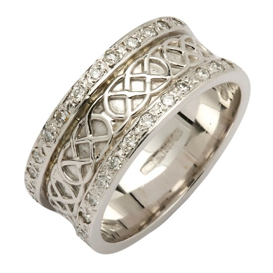 Celtic Closed Knot Diamond Pavé White Gold Band
