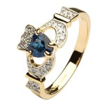 Ladies Claddagh Ring with Sapphire and Diamonds