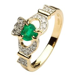 Claddagh Ring with Emerald and Diamonds