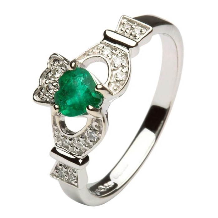 claddagh ring with emerald and diamonds claddagh rings