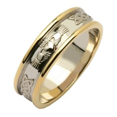 Claddagh & Celtic Knot Two Tone Wedding Band