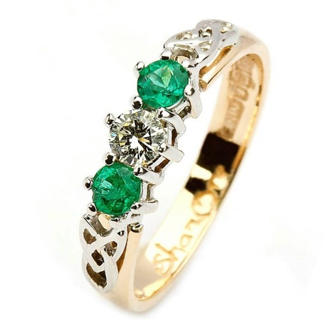 Diamond and Emerald Trinity Knot Engagement Ring