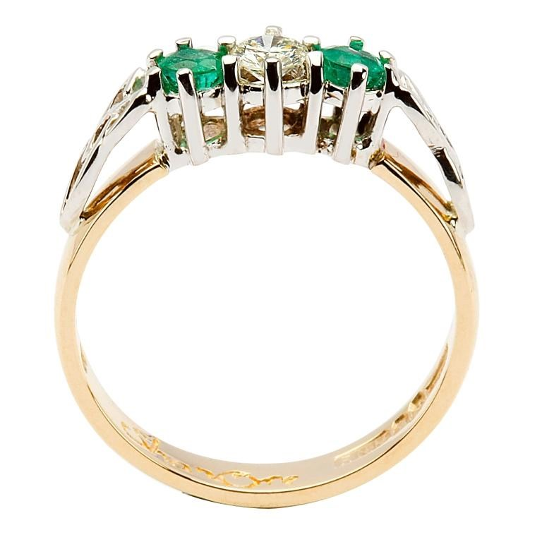 Diamond And Emerald Trinity Knot Engagement Ring Celtic