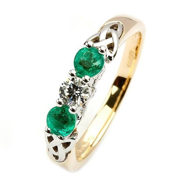 Engagement Rings Knot: Diamond And Emerald Trinity Knot Engagement Ring