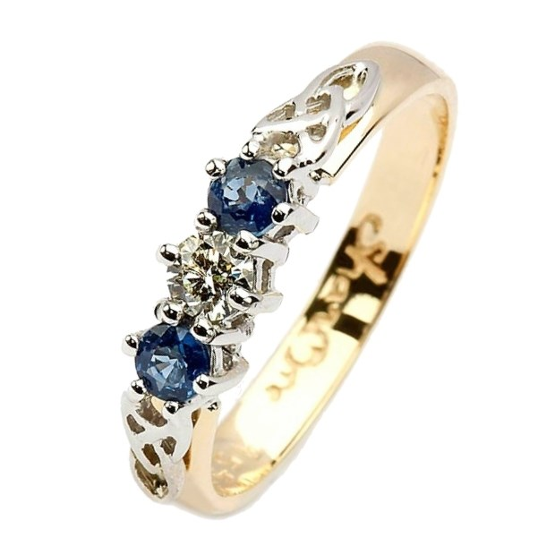 Diamond And Sapphire Trinity Knot Engagement Ring