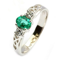 Oval Emerald and Diamond Trinity Knot Engagement Ring