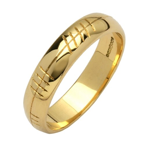 Personalized Ogham Yellow Gold Ring