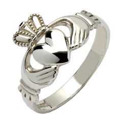 Gents Traditional White Gold Claddagh Ring