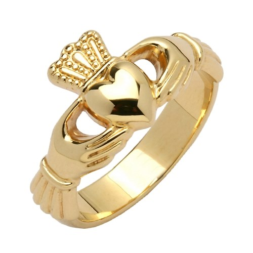 Ladies Heavy Yellow Gold Claddagh Ring