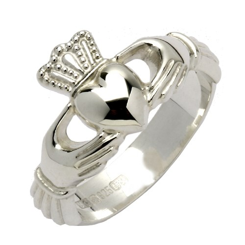 Ladies Heavy White Gold Claddagh Ring