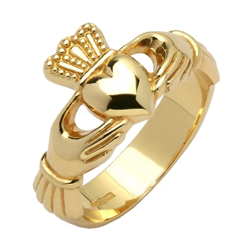 Gents Heavy Yellow Gold Claddagh Ring