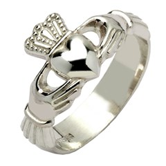 Gents Heavy White Gold Claddagh Ring