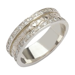 Claddagh & Celtic Knot Diamond Pavé Wedding Band