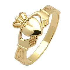 Ladies Trinity Knot Yellow Gold Claddagh Ring