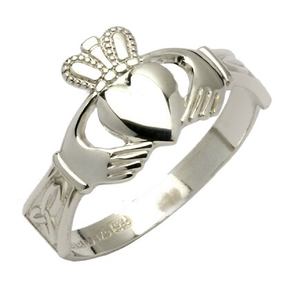 Ladies Trinity Knot White Gold Claddagh Ring