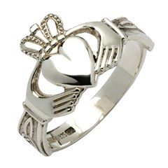Gents Trinity Knot White Gold Claddagh Ring