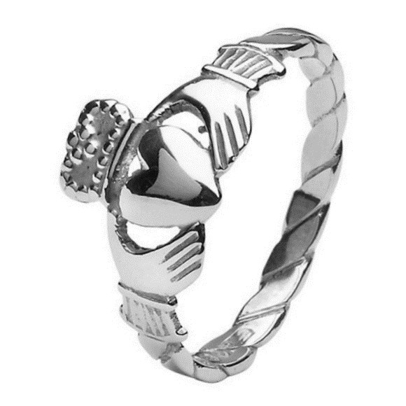 Ladies Twist Shank Claddagh White Gold Ring