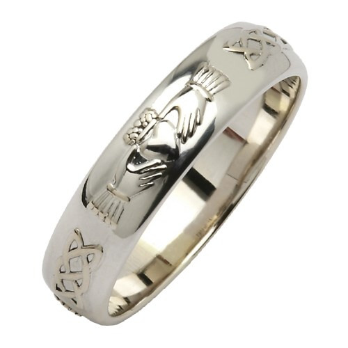 ladies band diamond white claddagh wedding set rings gold product celtic and