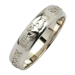 Claddagh & Celtic Knot Silver Wedding Band