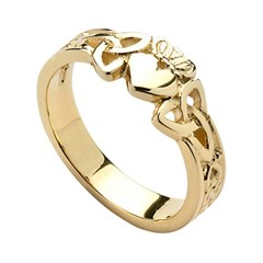 Ladies Heart Trinity Knot Yellow Gold Claddagh Ring