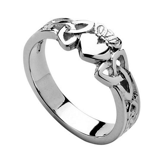 Ladies Heart Trinity Knot White Gold Claddagh Ring