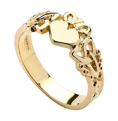 Gents Heart Trinity Knot Yellow Gold Claddagh Ring