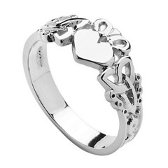 Gents Heart Trinity Knot White Gold Claddagh Ring