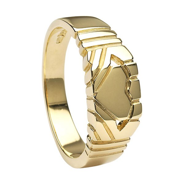 Gents Claddagh Square Yellow Gold Ring Claddagh Rings Rings