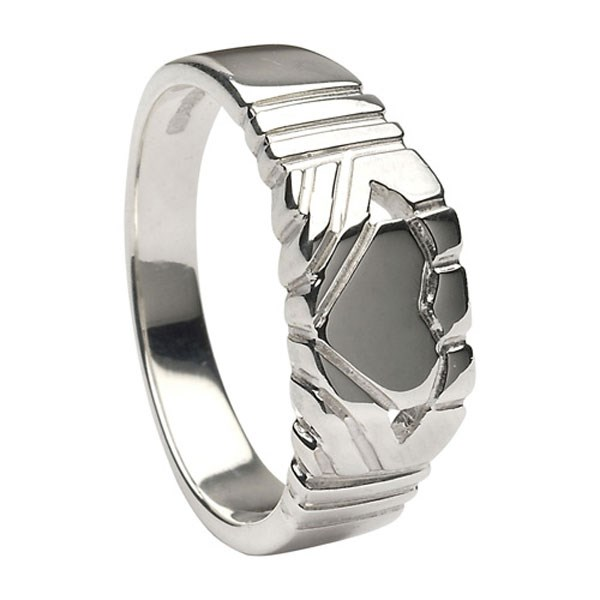 Gents Claddagh Square White Gold Ring
