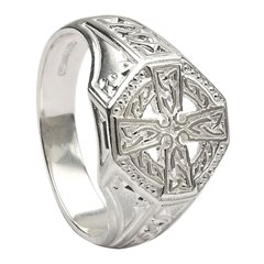 Celtic Cross White Gold Ring