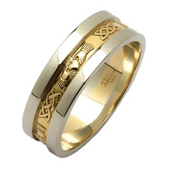 Claddagh & Celtic Knot Two Tone Wedding Band with Wide Sides