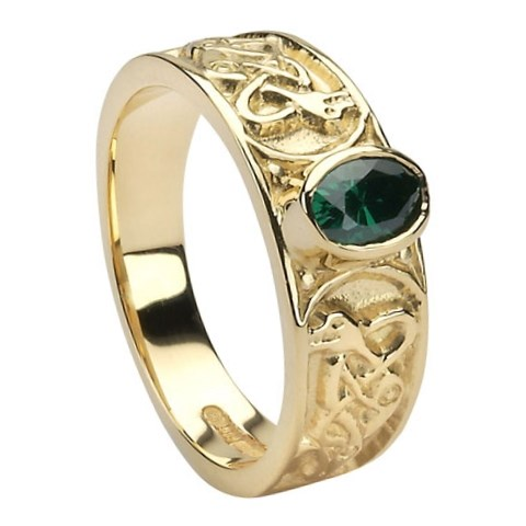 Celtic Emerald Set Yellow Gold Ring