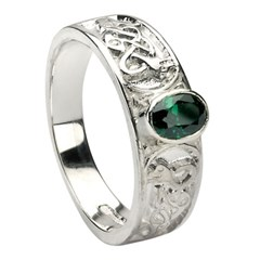 Celtic Emerald Set White Gold Ring