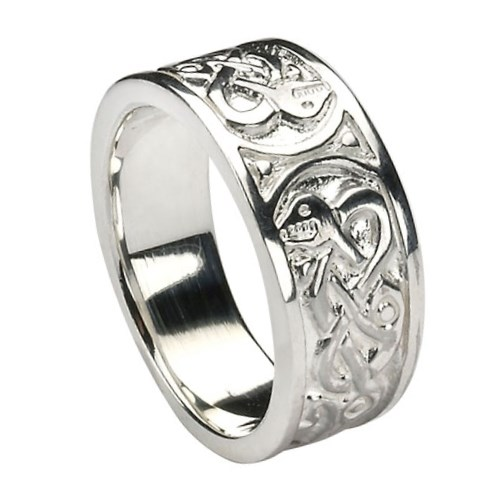 Traditional White Gold Celtic Ring
