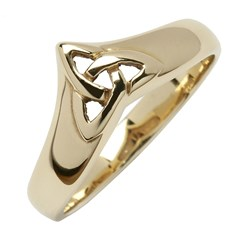 Celtic Trinity Knot Yellow Gold Wishbone Ring