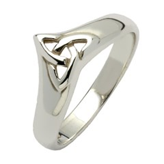 Celtic Trinity Knot White Gold Wishbone Ring