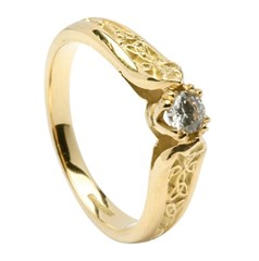 Diamond Engagement Yellow Gold Ring with Trinity Shank