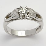 Trinity Knot White Gold Solitaire Ring with Brilliant Cut Diamond