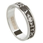 My Soul Mate Oxidized Silver Wedding Band - Ladies