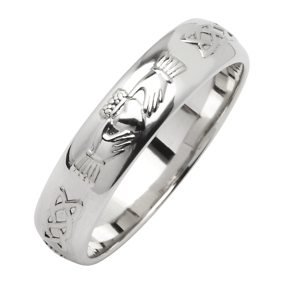 White Gold Wedding Band.Claddagh Celtic Knot White Gold Wedding Band