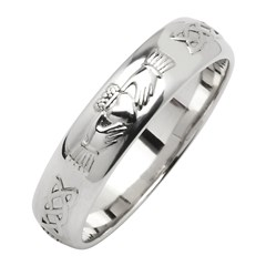 Claddagh & Celtic Knot White Gold Wedding Band